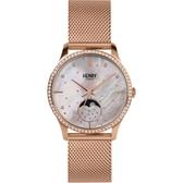 【台南 時代鐘錶 Henry London】英倫復古風潮 典雅品味月相腕錶 HL35-LM-0322 玫瑰金 35mm