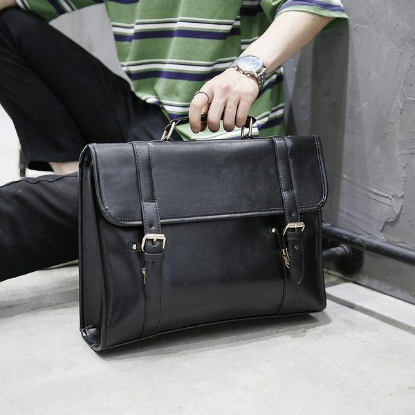 男士手提包 橫款單肩斜挎商務公文包 E3167