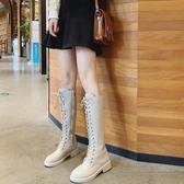馬丁靴女秋冬新款高筒騎士靴過膝長靴女粗跟網紅瘦瘦靴子中跟   蘑菇街小屋