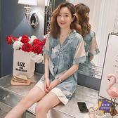 睡衣 新款絲綢睡衣女夏季冰絲短袖兩件套裝性感薄款韓版清新學生家居服