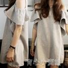 短t恤 【6535棉】2021夏季純色中長款泡泡袖露肩圓領短袖T恤女 17育心