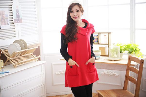 *孕味十足。孕婦裝*【CFQ0262】台灣製。造型反折領釦子裝飾雙口袋磨毛孕婦上衣 4色
