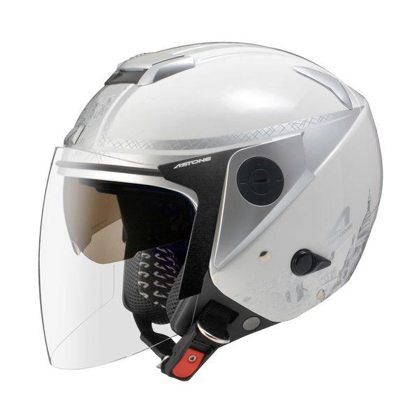 [東門城] ASTONE RS T56 白銀 3/4罩安全帽 內藏式墨片 內襯全可拆洗 眼鏡溝設計