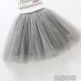 女童短裙半身裙春夏秋兒童公主裙中大童網紗舞蹈裙寶寶蓬蓬裙子 花樣年華