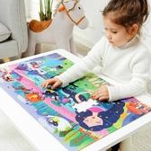 恐龍世界地圖拼圖兒童100片3-6歲幼兒園紙質益智玩具 萬客居