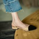 小香風包頭涼鞋女2021年新款夏百搭法式低跟平底鞋中粗跟拼色單鞋