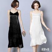 內搭襯裙 V領中長款吊帶背心打底裙新款修身內搭襯裙外穿連身裙女zzy8867『易購3c館』