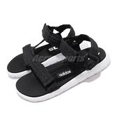 adidas 涼拖鞋 Comfort Sandal K 黑 白 女鞋 大童鞋 中童鞋 魔鬼氈 涼鞋 基本款 【ACS】 FV8806