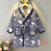 兒童浴袍 兒童浴袍冬季男孩女童法蘭絨夾棉加厚睡袍珊瑚絨小孩寶寶親子睡衣 2色