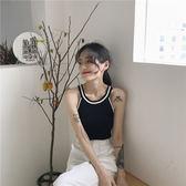 夏季韓國chic拼色舒適冰絲修身顯瘦掛脖圓領針織弔帶背心女打底衫  智能生活館