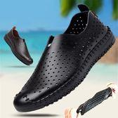 男士涼鞋2018新款夏季韓版皮鞋透氣懶人鏤空洞洞鞋休閒鞋男款    西城故事
