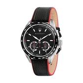【Maserati 瑪莎拉蒂】TRAGUARDO時尚三眼計時腕錶-個性黑/R8871612028/台灣總代理公司貨享兩年保固