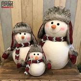 圣誕節裝飾 圣誕裝飾品雪人娃娃三口之家圣誕節禮物圣誕桌面擺件