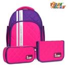 【TigerFamily】彩虹超輕量護脊書包(撞色款)-玫瑰紅(含文具袋+鉛筆盒)