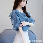 雪紡襯衫女短袖T恤新款夏裝很仙上衣洋氣顯瘦時尚打底小衫潮 雙十一全館免運