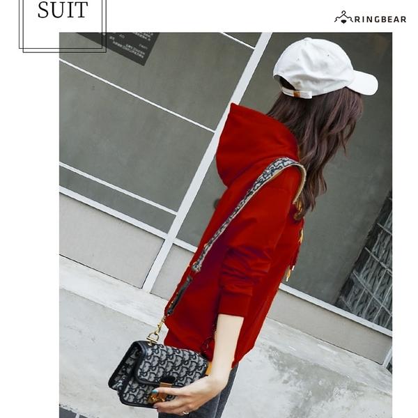 大學T--抽繩連帽英字羅紋袖口袋鼠口袋刷毛大尺碼上衣(紅.藍.黃XL-5L)-X300眼圈熊中大尺碼◎