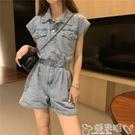 背帶褲 夏季網紅小個子工裝牛仔連體短褲女薄款高腰顯瘦闊腿熱褲 嬡孕哺
