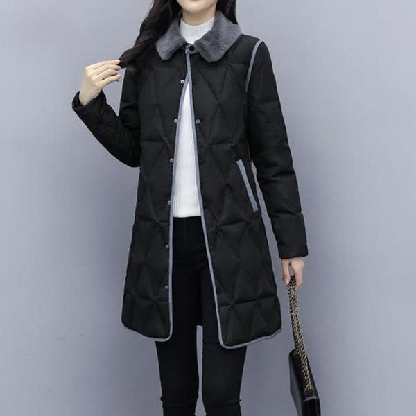 羽絨服女 羽絨服女中長款2021新款韓版收腰顯瘦氣質小個子保暖撞色外套【快速出貨八折搶購】