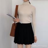 高領打底衫早秋季新款針織衫黑色打底衫高領日系毛衣外穿女裝上衣薄款潮T恤 阿卡娜