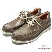 CUMAR 陽光型男 時尚馬克縫線休閒鞋-深咖啡色