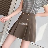 百褶裙女夏季新款高腰雙排扣a字半身裙防走光西裝短裙