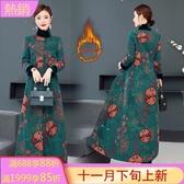 改良式旗袍外套 民族風女夾棉立領秋冬裝中國風開衫外搭大衣 萬聖節鉅惠