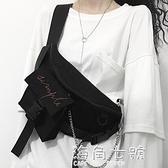 中性潮酷暗黑百搭運動胸包側背包帆布手機包男女海角七號