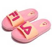 FILA 童鞋 拖鞋 粉紅 立體LOGO 防水 膠拖 中童 (布魯克林) 2S828V550
