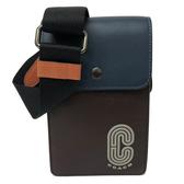 【COACH】中性男款長方形手機包/斜背包(小款-深咖配色)