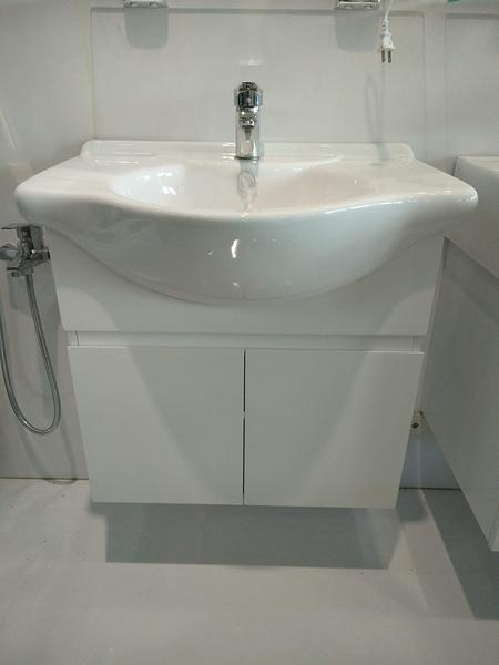 *超美*寬66cm 大肚臉盆+壁掛浴櫃 含水龍頭+所有安裝配件 寬66*深48*高62cm 100%防水PVC發泡板