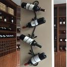 田園風格鐵藝壁掛紅酒架酒莊葡萄酒架吧臺上墻酒架家用《微愛》