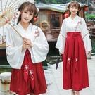 漢服 新款改良漢服夏裝女交領襦裙日常漢素套裝班服中國風古裝學生裝 快速出貨