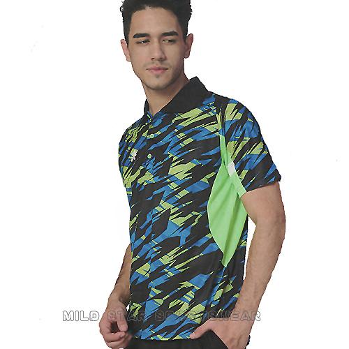 MILD STAR 男女吸濕排汗印花圖騰短POLO衫-藍綠#LS801345