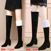 長靴 高跟長靴女過膝冬季新款棉鞋加絨加厚長筒靴子皮毛一體雪地靴 風尚