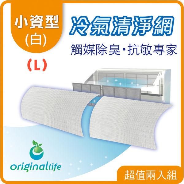 2入冷氣濾網57x115cm 強效抗菌 小資型白色(M)【Original Life】免耗材可水洗式