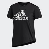 ADIDAS BADGE OF SPORT 女裝 短袖 慢跑 訓練 側邊系帶 舒適 黑【運動世界】FL2287