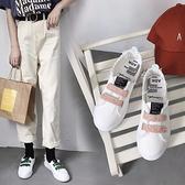 帆布鞋女秋季學生平底韓版透氣中口亮片魔術百搭小白鞋