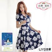 LIYO理優MIT涼感印花傘襬修身洋裝E716003