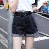 (低價促銷)新款高腰牛仔短褲女寬鬆正韓韓版學生捲邊a字夏季闊腿黑色熱褲子