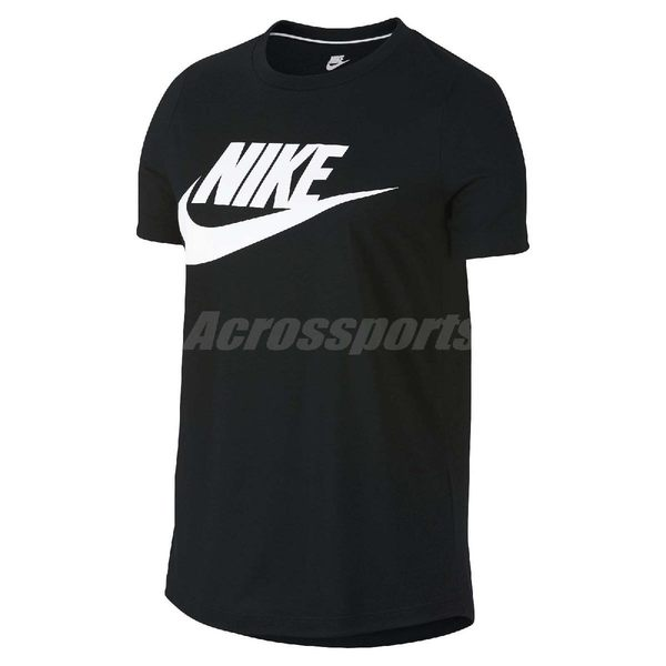 Nike T恤 SPORTSWEAR ESSENTIAL TEE HBR 女款 短T 黑 白 圓領 勾勾 短袖【PUMP306】 829748-010