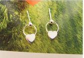 S925純銀光面心形可愛耳環LVV1180【KIKIKOKO】