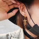 十字鍊條耳環 316L醫療鋼 十字架耳環 抗過敏不生鏽 可戴著洗澡 惡南宅急店【0474D】