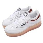 Reebok 休閒鞋 Club C Double 白 咖啡 女鞋 厚底 增高 復古 經典款 【ACS】 FX3092