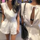 白色時尚夏季新棉麻無袖背心連體褲連身褲女洋裝V領露背繫帶高腰短褲~實拍~出國度假約會款