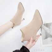 短靴子女2019秋款皮鞋秋冬季馬丁靴女小短靴女士高跟鞋女鞋子細跟 漾美眉韓衣