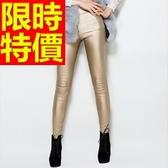 皮褲-時尚休閒彈力女長褲1色63u36【巴黎精品】