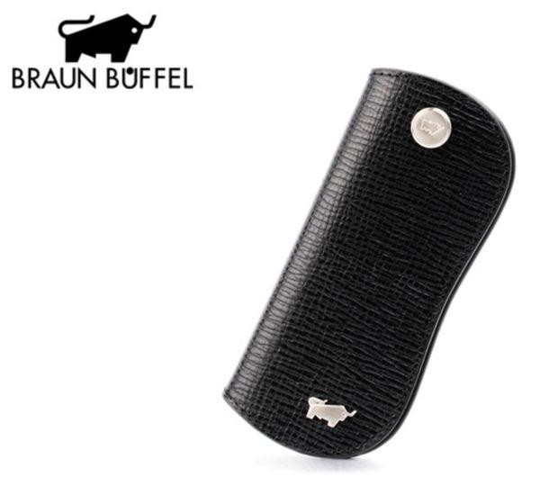 【橘子包包館】BRAUN BUFFEL 小金牛 阿瑪爾菲系列 男用 鑰匙包 164-311 經典黑