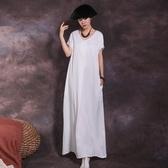 短袖連身裙-V領寬鬆純色休閒女長裙3色73vu37【巴黎精品】