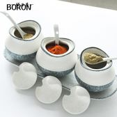 全套陶瓷創意陶瓷調味罐歐式調味盒三件套裝鹽罐廚房用品瓷調料瓶【櫻花本鋪】