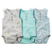 美國Carter's卡特童裝 女寶寶 無袖背心包屁衣 三件組 多色【CA127G109】